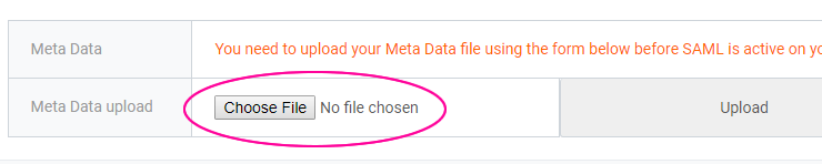 Upload metadata file